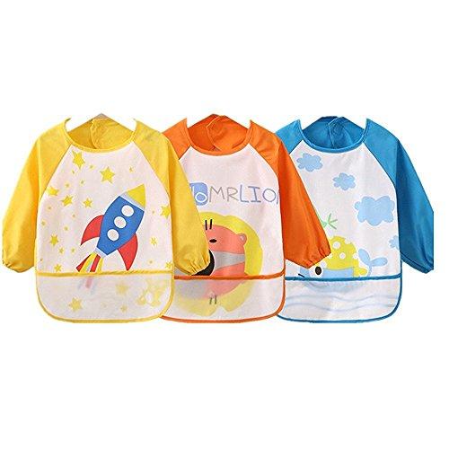 sohv Unisex Bambini Arts Craft pittura grembiule bambino impermeabile bavaglini con maniche e tasca, 6-36mesi, set di 3