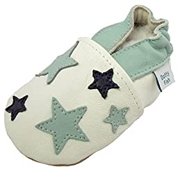 Dotty Fish Baby Boys\' Soft Leather Shoe with Suede Soles 6-12 months White Blue Stars