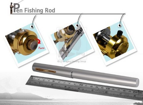 Mini pocket pen fishing rod pole reel line set from bbqbuy for Open reel fishing pole