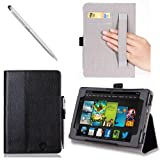 i-BLASON Kindle Fire HDX 7 inch Tablet Leather Case Cover / Stylus (Automatically Wakes and Puts the Kindle Fire HDX to Sleep) (Note Compatible with Kindle Fire HD 7) 3 Year Warranty (Black)