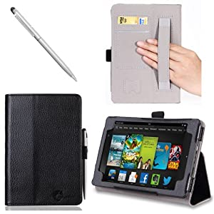 i-BLASON Kindle Fire HDX 7 inch Tablet Leather Case Cover / Stylus (Automatically Wakes and Puts the Kindle Fire HDX to Sleep) (NOT Compatible with Kindle Fire HD 7) 3 Year Warranty (Black)