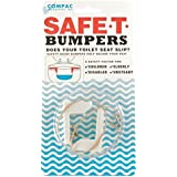 Compac's Safe T Bumpers, Toilet Seat Stabilizers Lock Seat Safely in Place, Keeps Children, Elderly, Disabled or Infirm Safe From Slipping Off Shaking, Moving or Wobbly Toilet Seat-Easy to Install