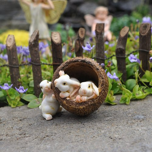 Miniature Fairy Garden Bunnies in a Walnut