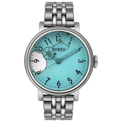 Fossil Women's JR9950 Blue Water Dial Stainless Steel Watch