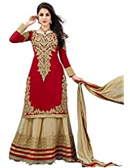 DivyaEmporio Women Faux Georgette Resham Anarkali Unstitched Dress Material