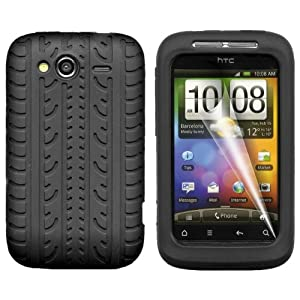 Gadgeo Black Tyre Tread Gel Silicone Case Cover for HTC Wildfire S with Screen Protector and Cleaning Cloth