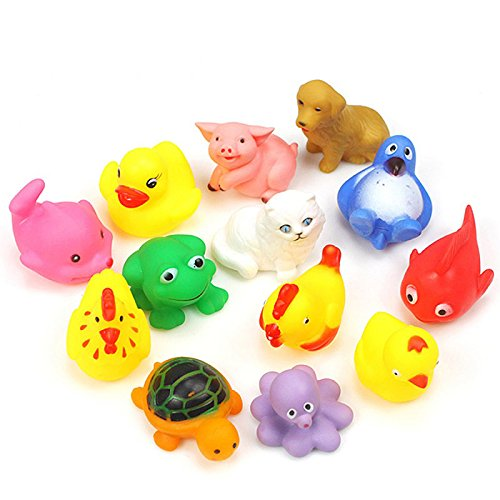 2016 New 13Pcs/Set Cute Baby Bath Toys Wash Play Animals Soft Rubber Float Sqeeze Sound toy (Baby Food Sqeeze compare prices)