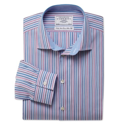 Charles Tyrwhitt Blue hairline non-iron multi stripe business casual extra slim fit shirt (16.5 - 33)