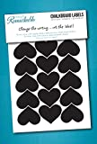 "Chalk and Talk Reusable Chalk Labels - 30 Small Heart Shape 1.75"" x 1.5"" Adhesive Chalkboard Stickers, Labels are Dishwasher Safe with Semi-Permanent Adhesive and Lightly Textured Writing Surface. Can be Wiped Clean and Reused, For Organizing, Decorating, Crafts, Personalized Hostess Gifts, Wedding and Party Favors"
