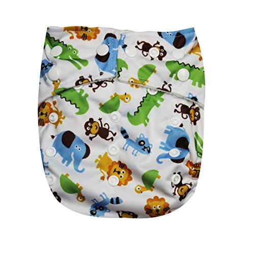 "Kawaii Baby One Size Organic Bamboo Terry Cloth Diaper with 2 Bamboo Inserts "" Zoo """