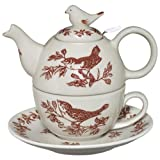 Red Bird Toile Tea for One