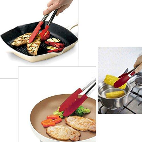 GUFAN 12 Pouces BBQ Pince Silicone de Barbecue avec le Verrouillage Pour Cuisine/ Salade/ Seau à glace/ Barbecue Griller Extérieur