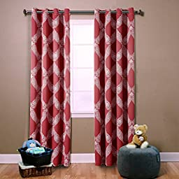 H.Versailtex Sophisticated Printed Energy Saving Blackout Window Curtains,Grommet Top,52 by 63 - Inch,Diamond Pattern in Cardinal Red(Set of 2 Panels)