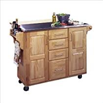 Hot Sale Home Styles 5086-95 Stainless Steel Top Kitchen Cart with Breakfast Bar, Natural Finish