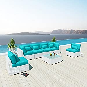 Modenzi 7G Outdoor Sectional Patio Furniture White Wicker Sofa Set (Turquoise) by Modenzi