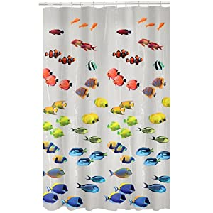 Peva Shower Curtain Liner 70 X 72 Pvc Free Multi Colored Fish Health Personal Care