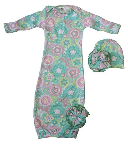 Woombie Indian Cotton Gowns Plus Hat, Spring Fling, 7-15 Lbs