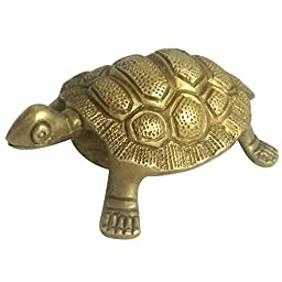 Prisha India Craft ® Christmas Gift Best Quality Handmade Brass Statue of Turtle, Tortoise made of brass , Size : L - 2.7 , W - 1 , H - 5 Inches