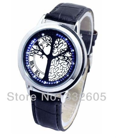 Fashion Blue Led Touch Screen Time Of Life Tree Black Leather Band Wrist Watch