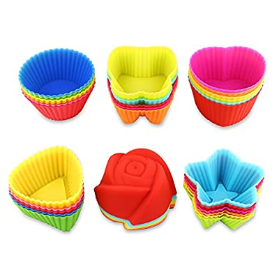 36 Pcs Reusable Silicone Baking Cups, Cupcake Liners, Muffin Cups, 6 Shapes with 6 Colors, Non-Stick, Heat Resistant (Up to 480°F) Mini Baking Molds, Food Grade
