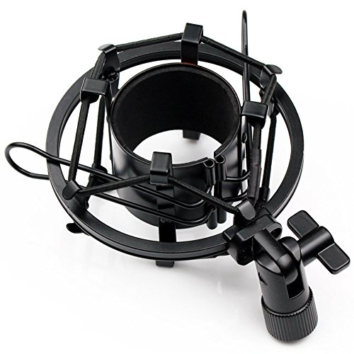 Very100 T-4 Black Microphone Shock Mount Clip Clamp For Large Diameter Condenser Mic