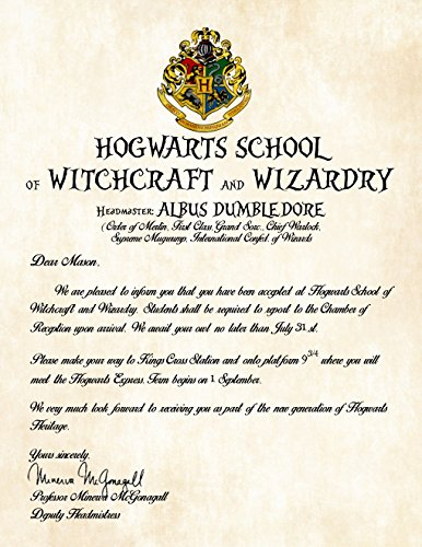 Personalized Harry Potter Acceptance Letter - Hogwarts School of Witchcraft and Wizardry (Personalized Harry Potter compare prices)