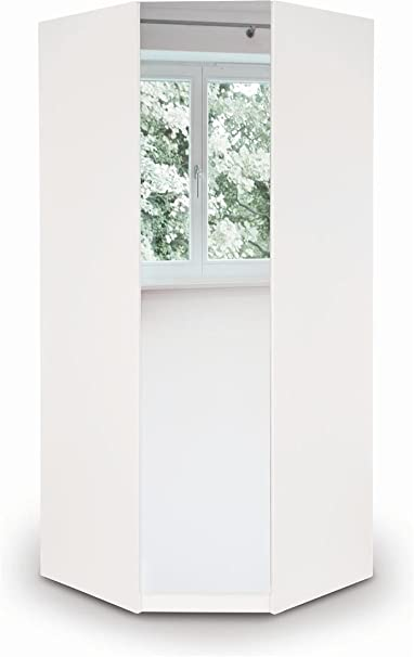 Harmony Angel 1 Door Single Corner Mirror Wardrobe White | Bedroom Furniture