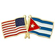 USA and Cuba Crossed Flag Lapel Pin