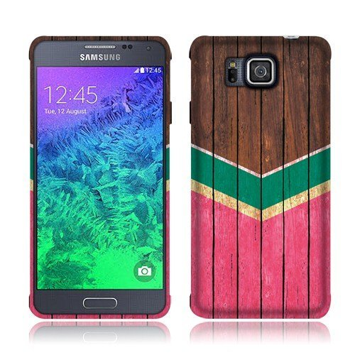 Nextkin Samsung Galaxy Alpha G850 Silicone Skin Soft TPU Gel Protector Cover Case - Teal Mint Hot Pink Wood Chevron (Samsung Alpha Case Custom compare prices)