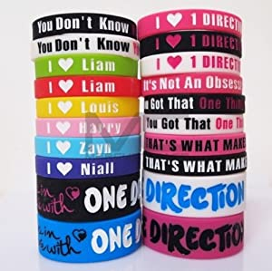 20pcs I Love ONE Direction Bracelet Silicone Wristband so in Love Heart 1d 20pcs by summersha