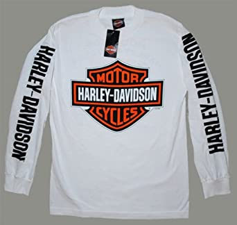 House of Harley Men's Bar & Shield Logo T-Shirt-LIMITED EDITION. All Cotton. Harley-Davidson Graphics. White. 302900320 (Small)