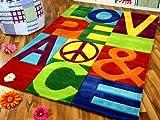 Lifestyle Kinderteppich Love Peace Bunt in 5 Größen !!! Sofort Lieferbar !!!