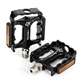 Road Bike Bicycle Aluminum Alloy Platform Pedals, Mountain Bike Pedals, CNC Steel Axle 9/16