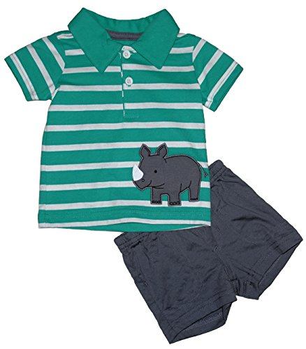 Carter's Rhinoceros 2 Piece Little Baby Boys Polo Shirt & Shorts Outfit Set (0-3 Months)