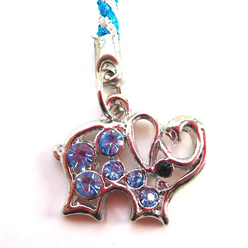 Cell Phone Mobile Camera Charm Strap Blue Diamond Elephant Design