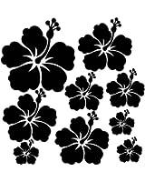 Sticker autocollant 9 fleurs d'hibiscus pour votre auto, votre frigo, vos murs... couleur noir