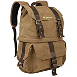 Evecase DSLR Digital Camera/Lens Kit and Canvas School Backpack with Rain cover - Brown for Nikon D7100, D7000, D5500, D5300, D5200, D3300, D810, D800E, D750, D610, D600, D90(Water Resistant)