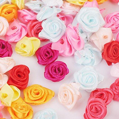 Lot de 480pcs 1,5cm Rose en Ruban Décoration de Mariage Couleur Mélangée