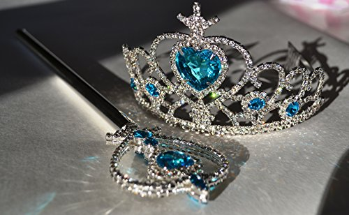 Ice Princess Elsa Costume Crown & Wand, Silver Plated and Crystal Stones