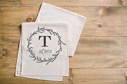 Initial with Wreath Table Runner, home decor, present, housewarming gift, tablewear, table scene, place setting, set the table