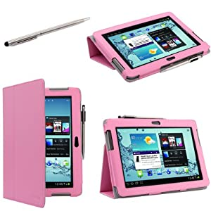 i-BLASON Samsung Galaxy Tab 2 10.1-Inch Leather Case Cover / Stylus for New 2012 16G 32G 3G Wifi GT-P5100 GT-P5113TSYXAR (Pink)