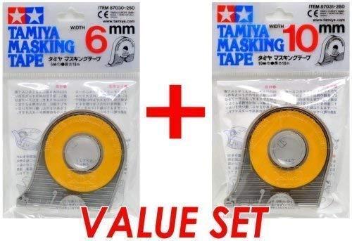 Tamiya 87030 Masking Tape 6mm & 87031 10mm Value Set - Pack of 3 (Tamaño: Pack of 3)