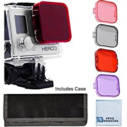 GoPro Hero 3 Camera Filter Kit w/ Soft Case. Red, Purple, Pink and Gray Colors. Scuba Green Water, Scuba Tropical Water, ND & Warming Filters