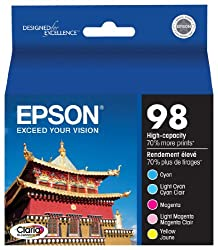 Epson Claria T098920 Hi-Definition 98 Extra High-capacity Inkjet Cartridge Color Multipack-Cyan/Light Cyan/Magenta/Light Magenta/Yellow