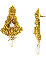 Traditional Ethnic White Floral Pearl Gold Plated Dangler Earrings For Women By Donna ER30062G