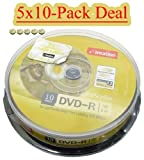 5-pack (5x10=50) Disc Makers IMATION Premium 16x LightScribe DVD-Rs - 5-Tubs of 10 (=50) LIGHT SCRIBE PRINTABLE RECORDABLE DVD 4.7GB 120MINS EAN 0051122236037