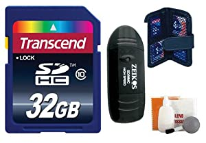 Transcend 32 GB Secure Digital (SDHC) Class 10 Memory Card + Accessory Kit