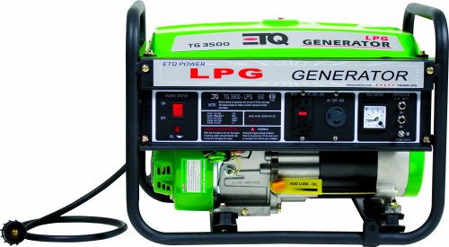 ETQ PG30P11 3,500 Watt 7 HP 208cc 4-Cycle OHV Propane Powered Portable Generator
