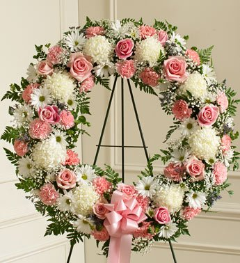 1800Flowers - Serene Blessings Pink & White Standing Wreath - Small front-757822