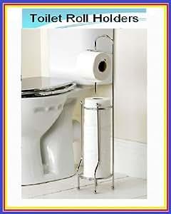 Free Standing Toilet Roll Holder & Multi Toilet Roll Storage Chrome Finish
